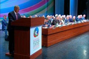 Рустам Минниханов выступил на пленарном заседании VI съезда Всемирного конгресса татар